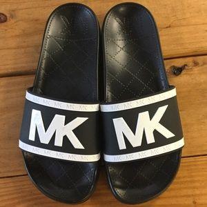 New Michael Kors Black & White Eva Sole MK Slides